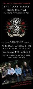Anuncio para el Festival de Musica Todos Santos con Peter Buck de REM 21 de Enero 2012 en la plaza