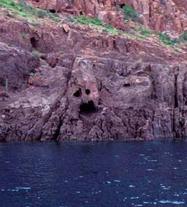 Isla Espiruto Santo spirit face cave, Sea of Cortez, La Paz, Baja, Mexico