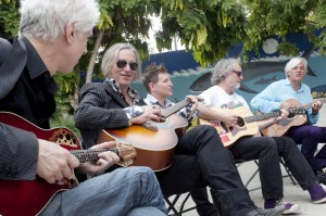Bill Rieflin, Peter Buck, Steve Wynn, Scott McCaughey and Robyn Hitchcock at the Palapa Society of Todos Sanos, Baja, Mexico