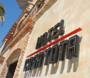 Hotel Casa Tota sign, Todos Santos, Baja, Mexico