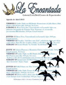 La Encantada April schedule, La Paz, Baja, Mexico