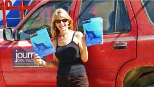 Celia with Festival 2014 issue of Journal del Pacifico, Todos Santos, Baja, Mexico