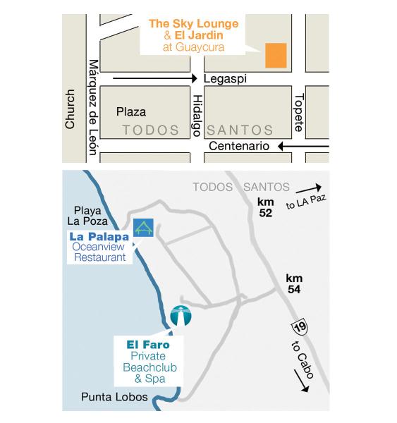 Grupo Gastronomico Guaycura map, Todos Santos, Baja, Mexico