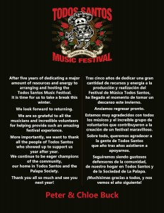 Todos Santos Music Festival message from Peter and Chloe Buck